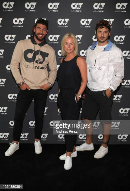 Ignazio Moser Tanja Guendling VP AlphaTauri and Giovanni Masiero attend the AlphaTauri Collection Preview Spring/Summer 2021 at Hotel Schönberghof on...