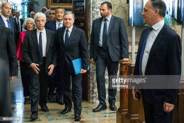 Ignazio Visco governor of Bank of Italy center and Salvatore Rossi Bank of Italy senior deputy governor left arrive to attend the central bank's...