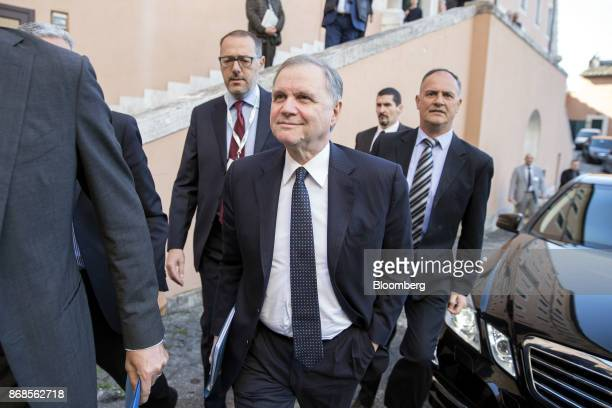 Ignazio Visco governor of the Bank of Italy arrives for an event to mark World Savings Day at the Italian Banking Association in Rome Italy on...