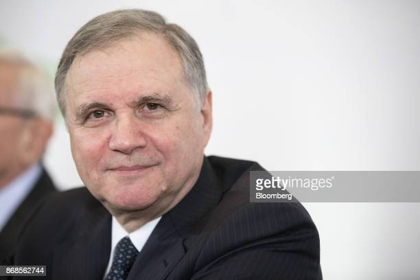 Ignazio Visco governor of the Bank of Italy looks on during an event to mark World Savings Day at the Italian Banking Association in Rome Italy on...