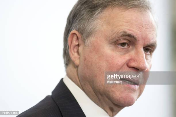 Ignazio Visco governor of the Bank of Italy speaks during an event to mark World Savings Day at the Italian Banking Association in Rome Italy on...