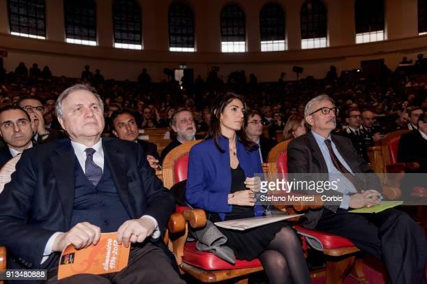 Ignazio Visco Governor of the Bank of ItalyVirginia Raggi Mayor of Rome and Giovanni Salvi Public Prosecutor of Catania during the congress...