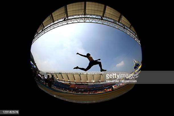 Ignisious Gaisah of Ghana competes in the men's long jump qualification round during day six of the 13th IAAF World Athletics Championships at the...