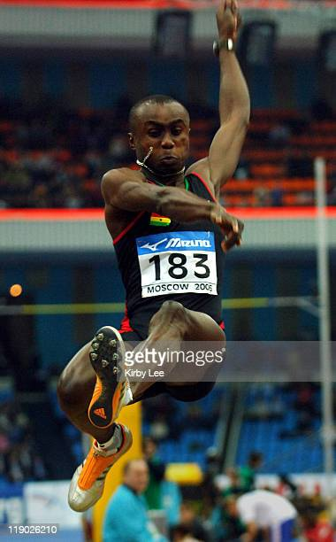 Ignisious Gaisah of Ghana won the men's long jump at 27-2 3/4 in the IAAF World Indoor Championships in Athletics at the Olympiysky Sports Complex in...