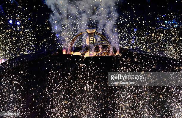 Igniting the 'big bang' during the Opening Ceremony of the London 2012 Paralympics at the Olympic Stadium on August 29 2012 in London England