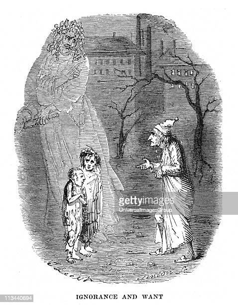 Ignorance and Want presented by a ghost appearing to Scrooge Illustration by John Leech for Charles Dickens A Christmas Carol London 18431844