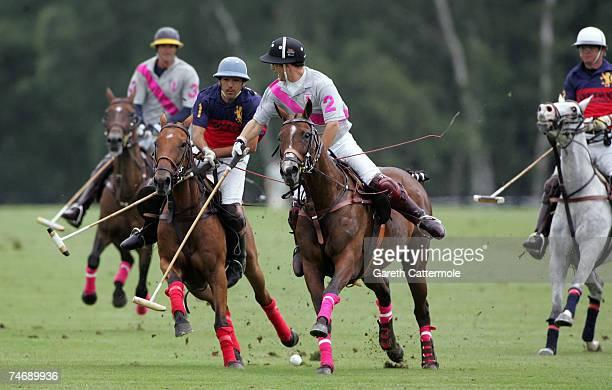 Ignus du Plessis of Les Lions battles with Edouard Carmignac of Tatlandracas during The Vivari Queen's Cup SubFinal at Guards Polo Club on June 17...