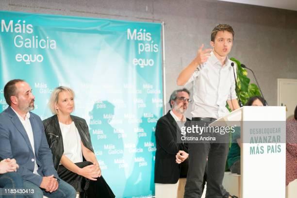 Íñigo Errejónleader of the new Spanish political party 'Mas Pais' attends a meeting in Fundación Once A Coruña on October 25 2019 in A Coruna Spain
