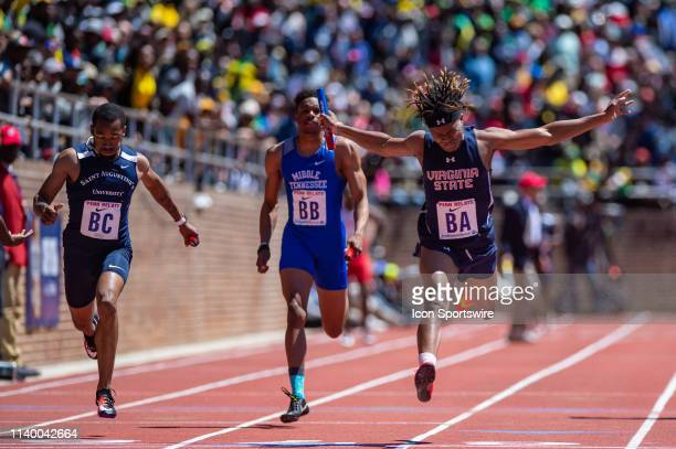 Igo Grimes crosses the finish line during the as Virginia State wins the College Mens 4x100 race at the 125th Annual Penn Relays Track and Field Meet...
