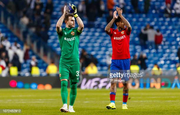 Igor Akinfeev and Abel Hernández of CSKA Moscow gestures during the UEFA Champions League Group G match between Real Madrid and CSKA Moscow at...