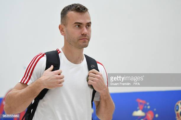 Igor Akinfeev arrives at the stadium prior to the 2018 FIFA World Cup Russia group A match between Uruguay and Russia at Samara Arena on June 25 2018...