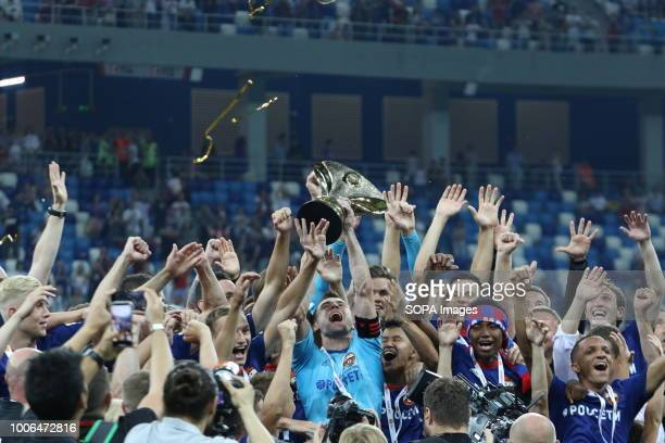 Igor Akinfeev CSKA Moscow's goalkeeper seen holding the trophey while celebrating the victory with his teammate for winning the 2018 Russian Super...
