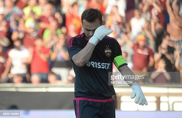 Igor Akinfeev goalkeeper of CSKA Moscow reacts during the UEFA Champions League third qualifying round second leg football match between Sparta...