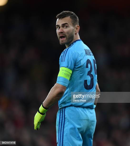 Igor Akinfeev of CSKA during the UEFA Europa League quarter final leg one match between Arsenal FC and CSKA Moskva at Emirates Stadium on April 5...