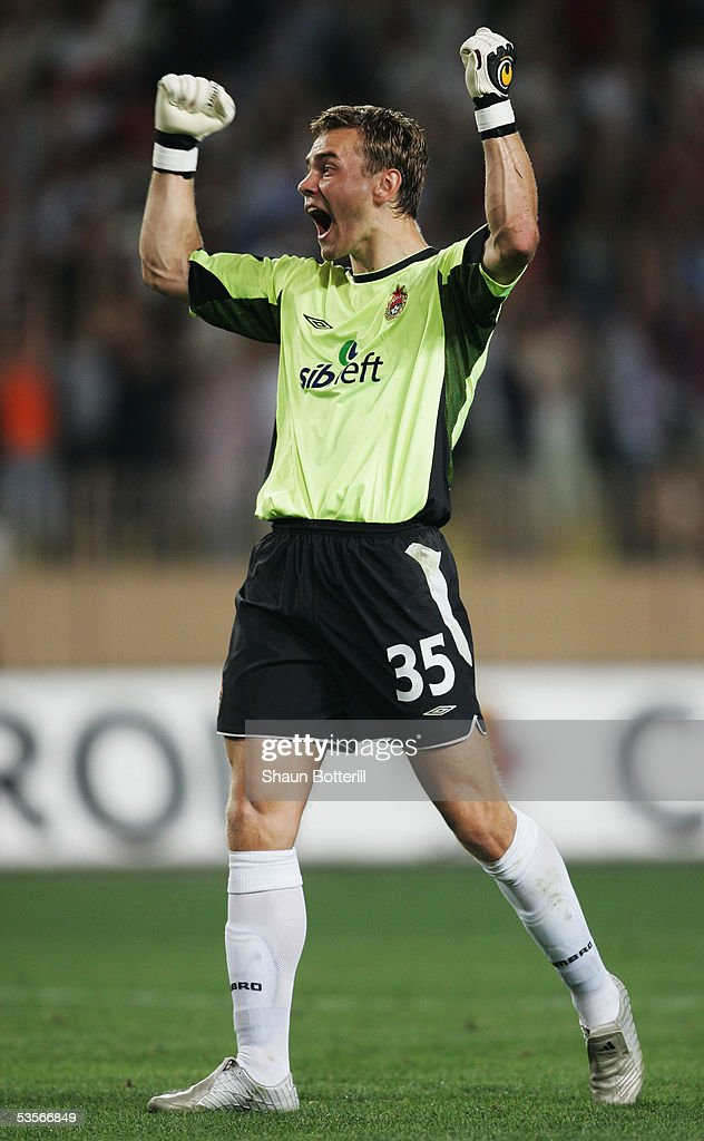 Igor Akinfeev of CSKA Moscow celebrates during the UEFA Super Cup match between Liverpool and CSKA Moscow at the Stade Louis II on August 26, 2005 in Monte Carlo, Monaco.