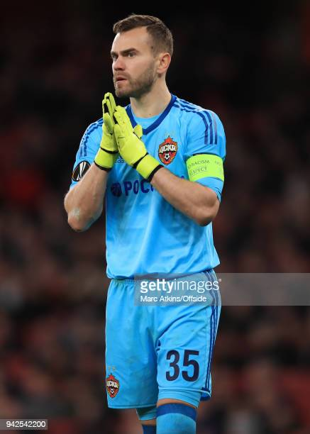 Igor Akinfeev of CSKA Moscow during the UEFA Europa League quarter final leg one match between Arsenal FC and CSKA Moskva at Emirates Stadium on...