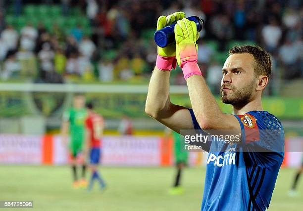 Igor Akinfeev of CSKA Moscow gestures during the Russian Premier League match between FC Anji Makhachkala and PFC CSKA Moscow at Anji Arena Stadium...