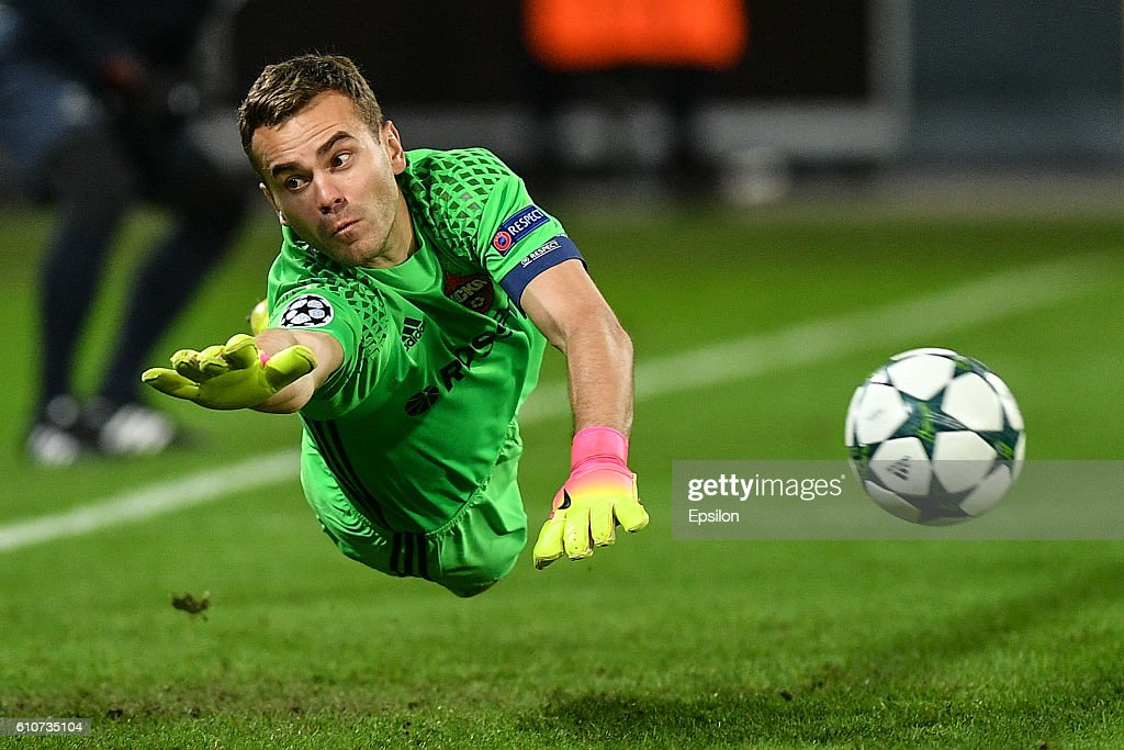 Igor Akinfeev of CSKA Moscow in action during the UEFA Champions League match between PFC CSKA Moskva and Tottenham Hotspur FC at the CSKA Arena stadium on September 27, 2016 in Moscow.