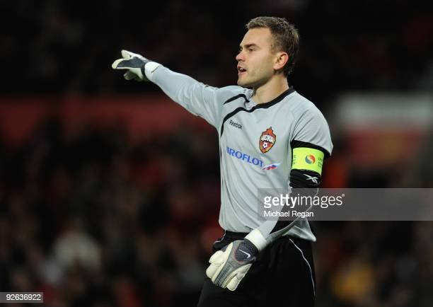 Igor Akinfeev of CSKA Moscow issues instructions during the UEFA Champions League Group B match between Manchester United and CSKA Moscow at Old...
