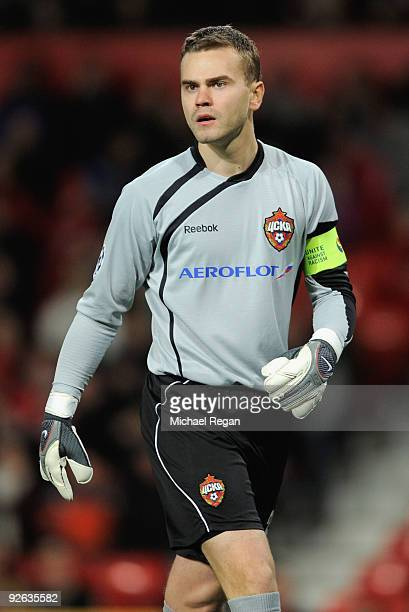 Igor Akinfeev of CSKA Moscow looks on during the UEFA Champions League Group B match between Manchester United and CSKA Moscow at Old Trafford on...