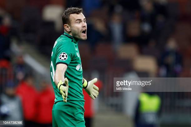 Igor Akinfeev of CSKA Moscow reacts after being sent off during the Group G match of the UEFA Champions League between CSKA Moscow and Real Madrid at...
