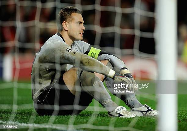 Igor Akinfeev of CSKA Moscow shows his dejection after conceding a third goal during the UEFA Champions League Group B match between Manchester...