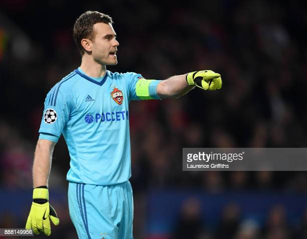 Igor Akinfeev of CSKA Moskva looks on during the UEFA Champions League group A match between Manchester United and CSKA Moskva at Old Trafford on...