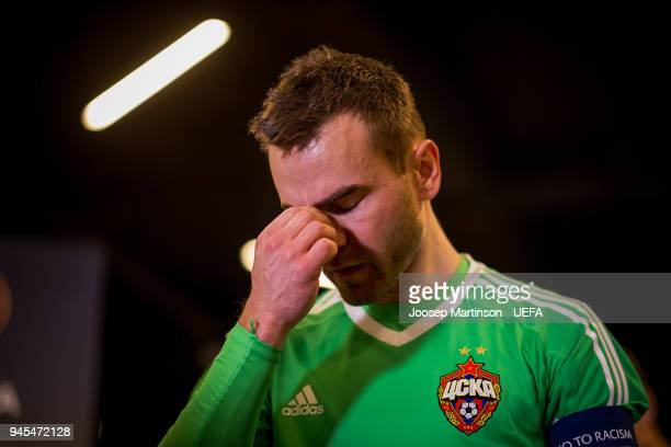 Igor Akinfeev of CSKA Moskva reacts prior to the UEFA Europa League quarter final leg two match between CSKA Moskva and Arsenal FC at CSKA Arena on...