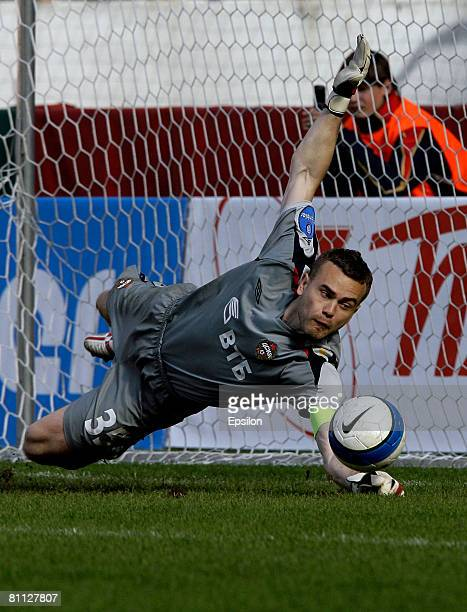 Igor Akinfeev of PFC CSKA Moscow in action during the Russian Cup final match between PFC CSKA and FC Amkar at the Lokomotiv Stadium May 17 2008 in...