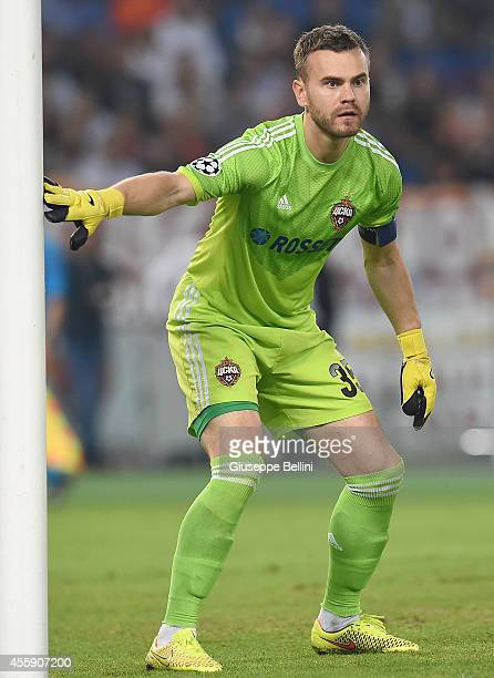 Igor Akinfeev of PFC CSKA Moskva in action during the UEFA Champions League Group E match between AS Roma and PFC CSKA Moskva on September 17 2014 in...