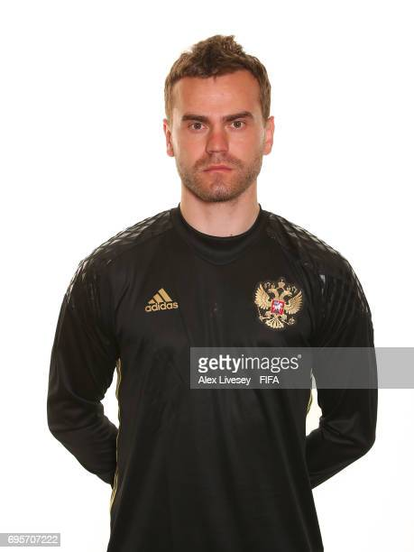 Igor Akinfeev of Russia during a portrait session at the Lotte Hotel on June 13 2017 in Moscow Russia