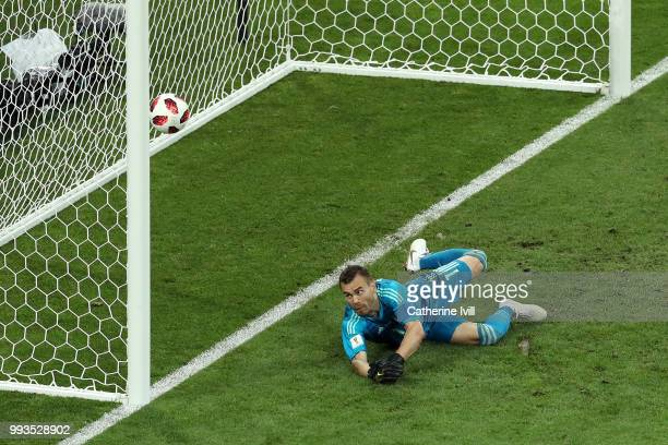 Igor Akinfeev of Russia fails to stop Luka Modric of Croatia's penalty in the penalty shoot out during the 2018 FIFA World Cup Russia Quarter Final...