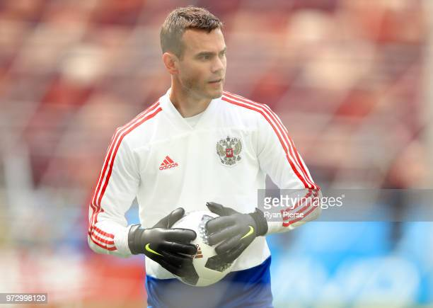 Igor Akinfeev of Russia looks on during a Russia training session ahead of the 2018 FIFA World Cup opening match against Saudia Arabia at Luzhniki...