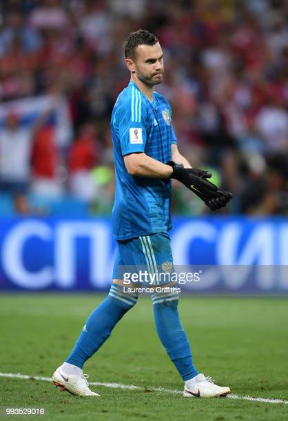 Igor Akinfeev of Russia looks on during the 2018 FIFA World Cup Russia Quarter Final match between Russia and Croatia at Fisht Stadium on July 7 2018...