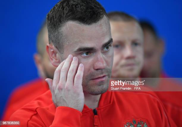 Igor Akinfeev of Russia looks on in the players tunnel during the 2018 FIFA World Cup Russia group A match between Uruguay and Russia at Samara Arena...