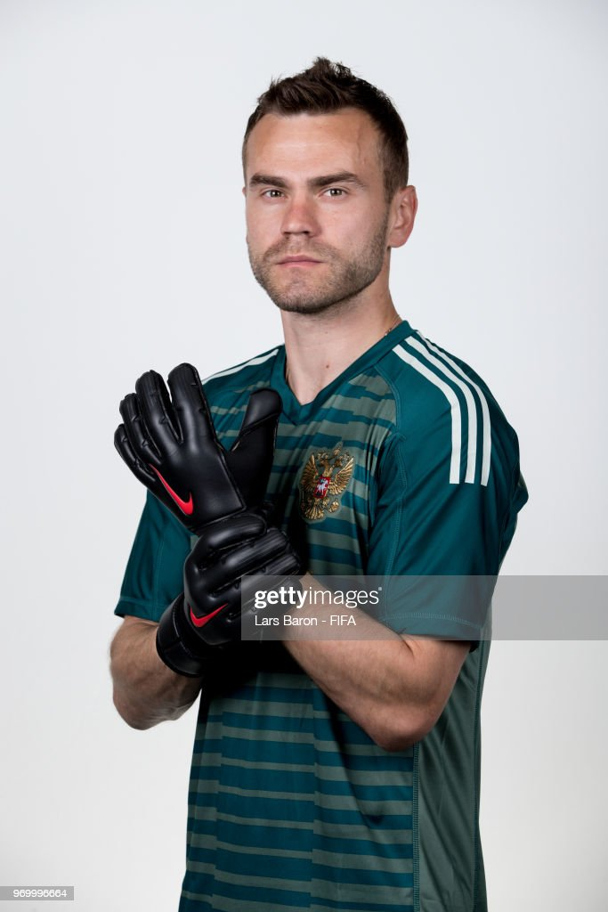 Igor Akinfeev of Russia poses for a portrait during the official FIFA World Cup 2018 portrait session at Federal Sports Centre Novogorsk on June 8, 2018 in Moscow, Russia.