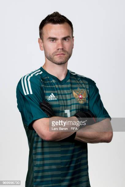 Igor Akinfeev of Russia poses for a portrait during the official FIFA World Cup 2018 portrait session at Federal Sports Centre Novogorsk on June 8...