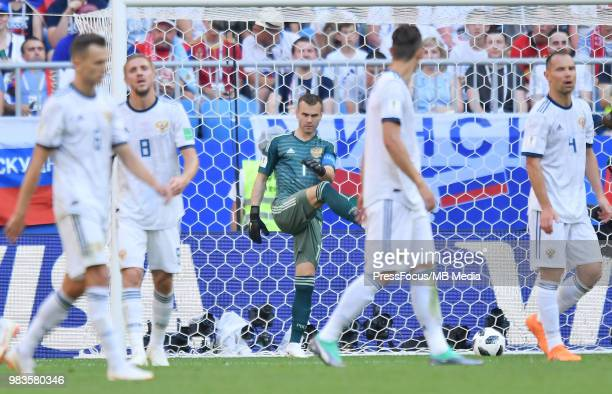 Igor Akinfeev of Russia reacts during the 2018 FIFA World Cup Russia group A match between Uruguay and Russia at Samara Arena on June 25 2018 in...