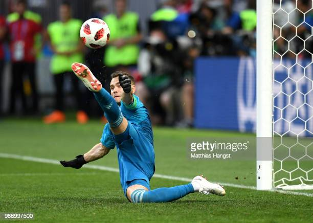 Igor Akinfeev of Russia saves the fifth penalty from Iago Aspas of Spain in the penalty shoot out during the 2018 FIFA World Cup Russia Round of 16...