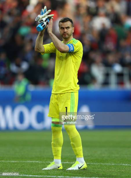 Igor Akinfeev of Russia shows appreciation to the fans after the FIFA Confederations Cup Russia 2017 Group A match between Russia and Portugal at...