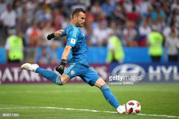 Igor Akinfeev of Russia takes a goal kick during the 2018 FIFA World Cup Russia Quarter Final match between Russia and Croatia at Fisht Stadium on...