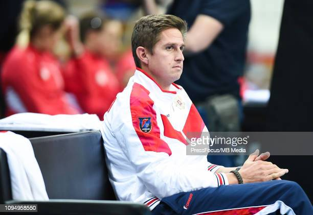 Igor Andreev captain of team of Russia reacts during her match against Clara Tauson of Denmark during the Fed Cup Europe and Africa Zone Group I...