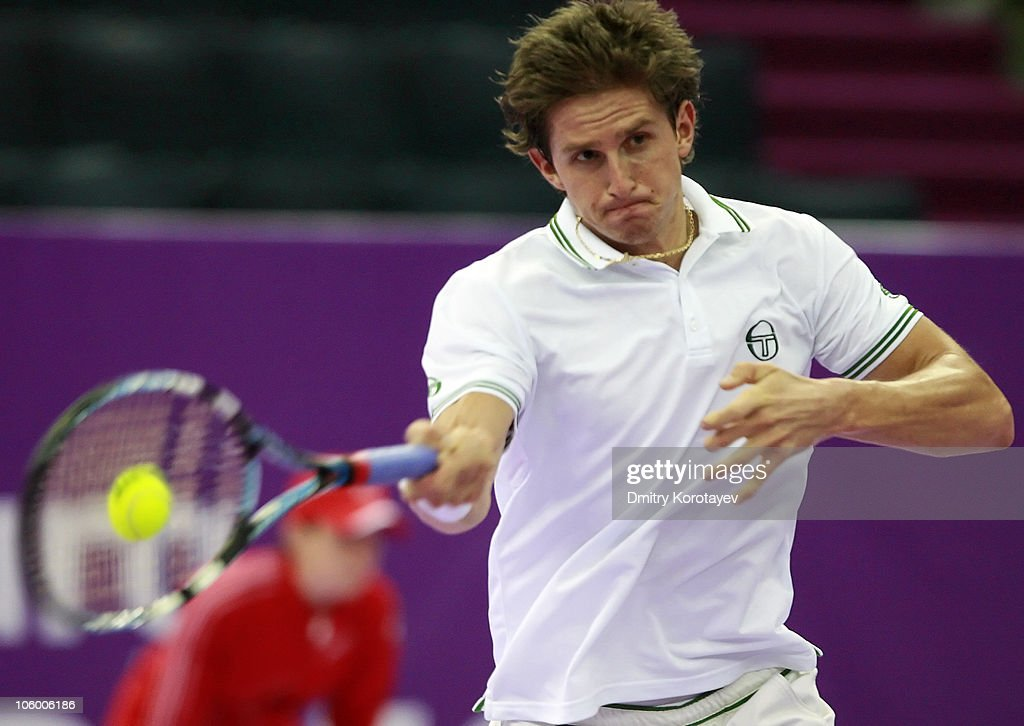Igor Andreev of Russia in action against Michael Russell of USA during day two of the International Tennis Tournamen St. Petersburg Open 2010 at the Sports Complex Petersburgsky on October 25, 2010 in St.Petersburg, Russia.
