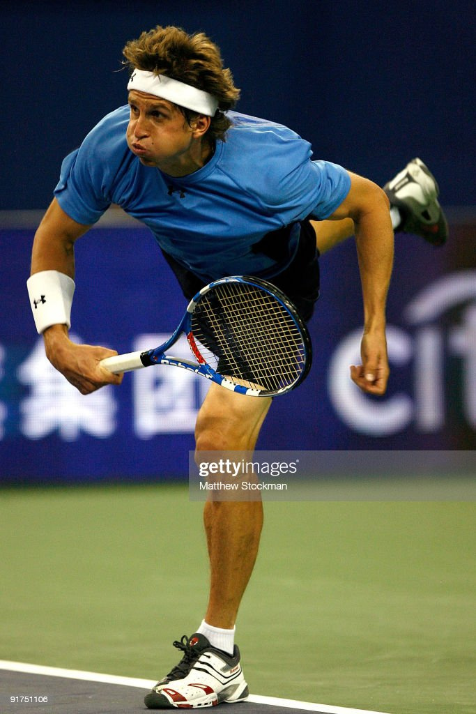 Igor Andreev of Russia serves to Igor Kunitsyn of Russia during day one of the 2009 Shanghai ATP Masters 1000 at Qi Zhong Tennis Centre on October 11, 2009 in