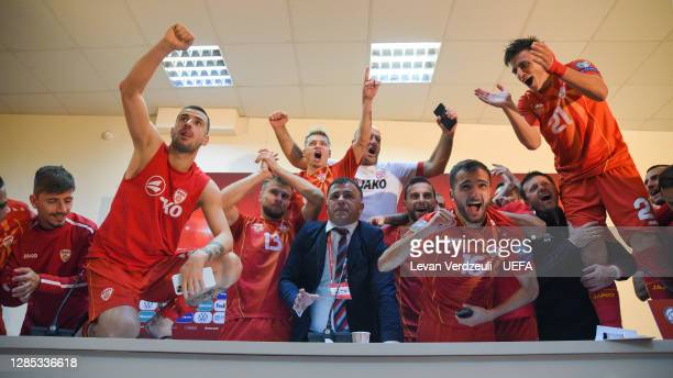 Igor Angelovski, Head Coach of North Macedonia celebrates during a press conference with his team during the UEFA EURO 2020 Play-Off Final between...