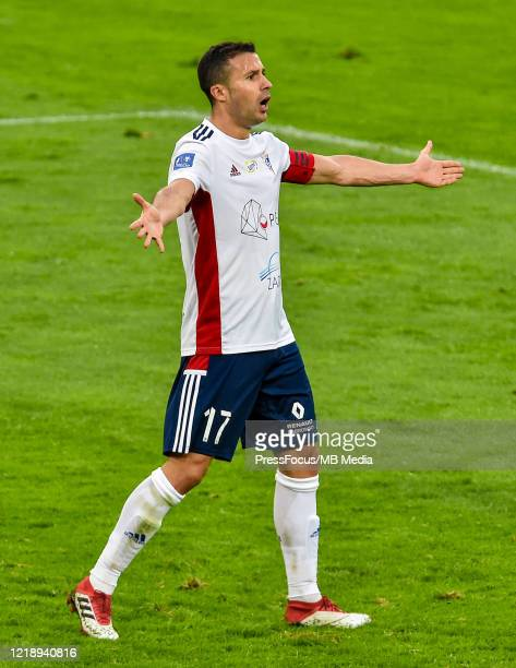 Igor Angulo of Gornik reacts during the PKO Ekstraklasa match between Gornika Zabrze and Piast Gliwice at Ernest Pohl Stadium on June 9, 2020 in...