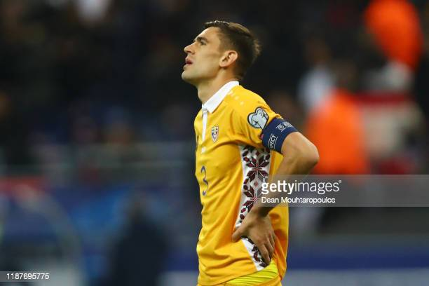 Igor Armas of Moldova looks dejected following his team's defeat in the UEFA Euro 2020 Qualifier between France and Moldova on November 14 2019 in...