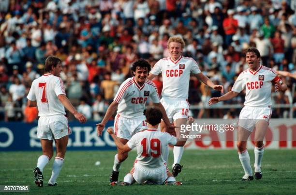 Igor Belanov of Soviet Union celebrate after his second goal with his team during the World Cup eigth final match between Soviet Union and Belgium on...