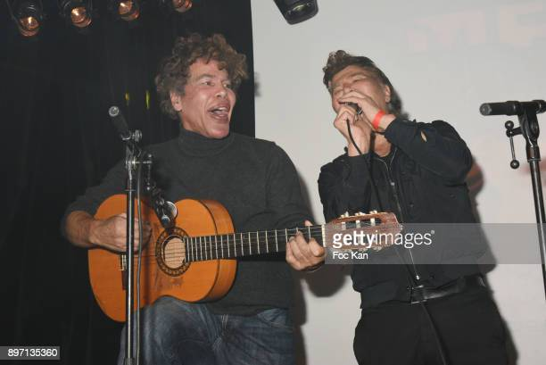 Igor Bogdanoff and Grichka Bogdanoff perform Country songs during the Le Temps Retrouve Party 2 At Les Bains In Paris on December 21 2017 in Paris...
