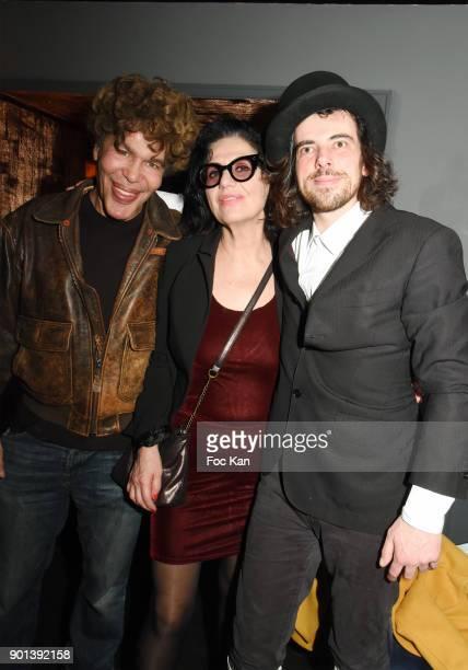 Igor Bogdanoff Lyne Vermes and DJ/performer Gwenael Billaud attend the Warhol and Burroughs Exhibition Party at Mona Lisa Restaurant Club on January...